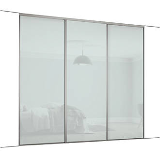 Spacepro Classic 3 Door Framed Glass Sliding Wardrobe Doors Arctic White 2672 X 2260mm Sliding Wardrobe Doors Screwfix Com