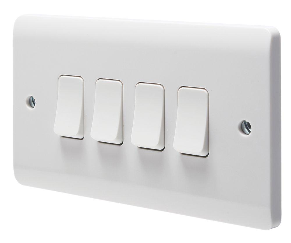 Crabtree Instinct 10ax 4 Gang 2 Way Light Switch White Switches Sockets Screwfix Com