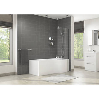 Cassellie Tempest P Shape Shower Bath Right Hand Acrylic No Tap Holes 1700mm Baths Screwfix Com