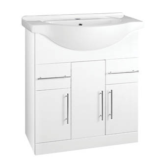 bathroom vanity unit basin white gloss 755 x 485 x 889mm furniture screwfixcom - Bathroom Vanity Units