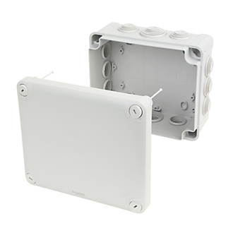 Schneider Electric 12 Entry Junction Box With Knockouts Grey 195 X 165 X 90mm Junction Boxes Screwfix Com