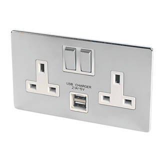 LAP 2-Gang DP 13A Switched Socket + 2 1A 2-Outlet USB Charger Brushed Chrome
