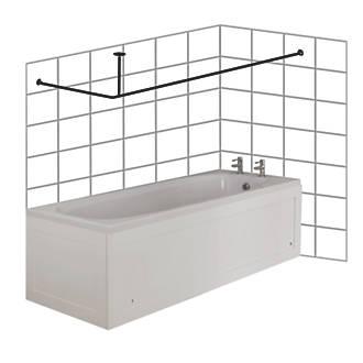 Croydex L Shaped Shower Curtain Rail Support Chrome 2000mm