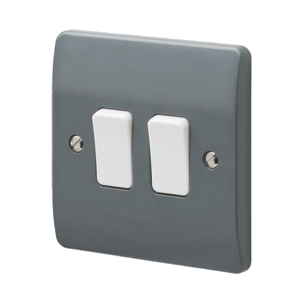 Mk Logic Plus 10ax 2 Gang 2 Way Switch Graphite With White Inserts Switches Sockets Screwfix Com