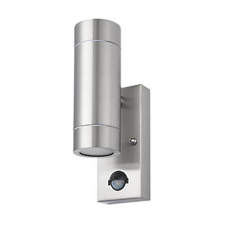 Lap bronx stainless steel gu10 pir up down wall light outdoor lap bronx stainless steel gu10 pir up down wall light outdoor wall lights screwfix aloadofball Images