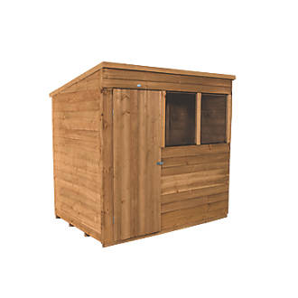 Forest 7 X 5 Nominal Pent Overlap Timber Shed With Assembly