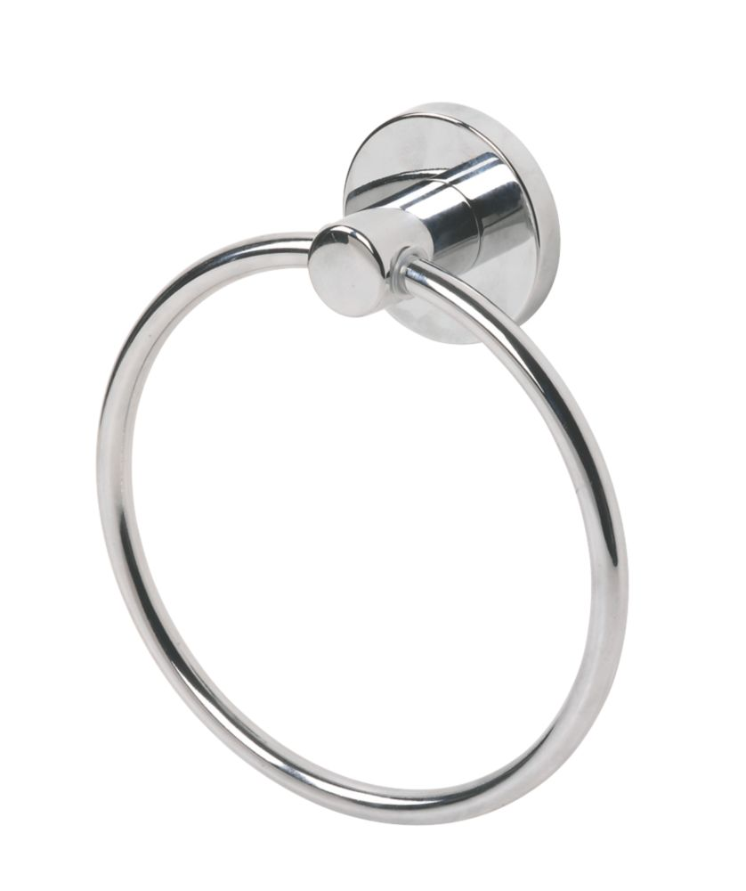 Swirl Cirque Bathroom Towel Holder Ring Chrome Plated Towel