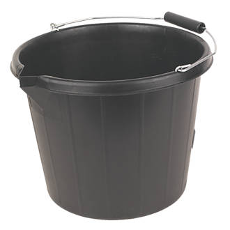 builders bucket black 3 gallon 14ltr buckets screwfix com