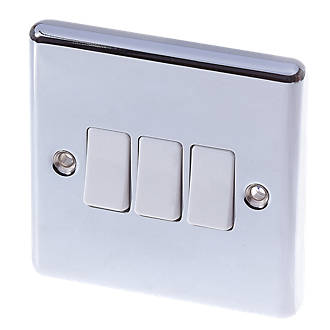 Lap 10ax 3 Gang 2 Way Light Switch Polished Chrome With White Inserts Switches Sockets Screwfix Com