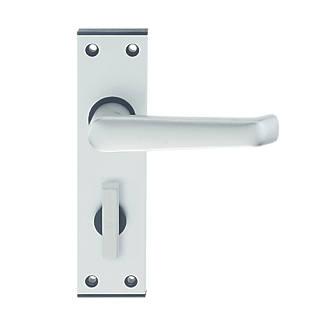 Union Ambassador Bathroom Door Handle Pair Satin Aluminium - Commercial bathroom door handle