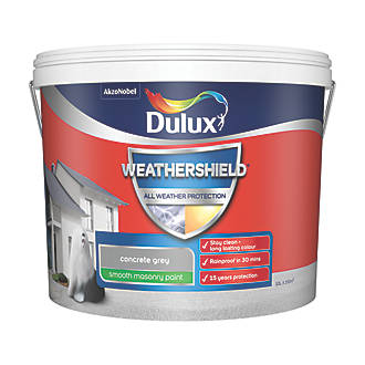 Dulux Weathershield Smooth Masonry Paint Concrete Grey 10ltr