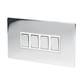 LAP 4-Gang 2-Way 10AX Light Switch Polished Chrome | Switches ...