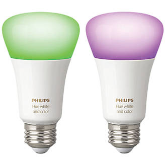 Philips Hue White Colour Ambience Led Gls Es Smart Bulb Colour Changing 9 5w 806lm 2 Pack