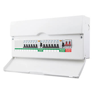BRITISH GENERAL 20-MODULE 10-WAY POPULATED HIGH INTEGRITY DUAL RCD CONSUMER UNIT