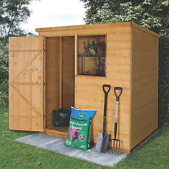 Forest 6 X 4 Nominal Pent Shiplap Timber Shed With Base Assembly
