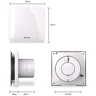 Vent-Axia VASF100B 4.3W Bathroom Extractor Fan White 240V on