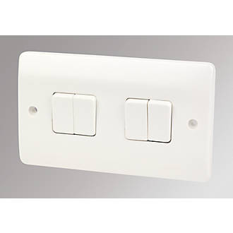 MK Logic Plus 4-Gang 2-Way 10AX Light Switch White | Switches ...