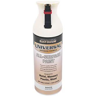 Rust Oleum Universal Spray Paint Satin White 400ml 75064