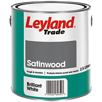 Leyland Trade Satinwood Paint Brilliant White 2 5ltr 75370
