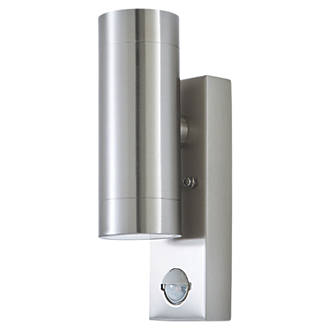 new concept f9509 16aa0 LAP 5510807001 Up & Down PIR Outdoor Wall Light Brushed Chrome 2 x 350lm  5.3W