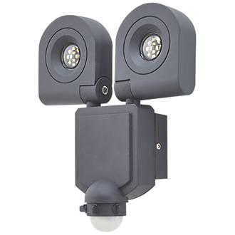 detailed look 1fab9 fbcff LAP LED Twin PIR Floodlight Black 2 x 10W Daylight