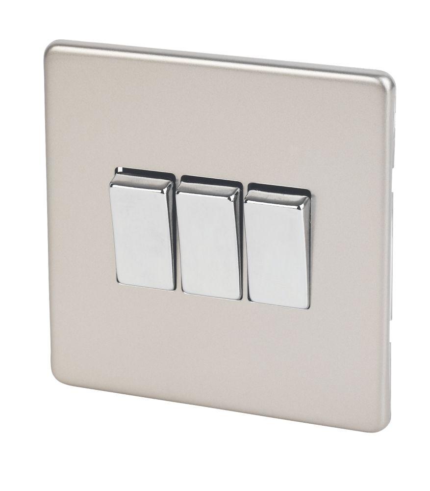 Varilight 10ax 3 Gang 2 Way Light Switch Satin Chrome Switches Screwfix Com