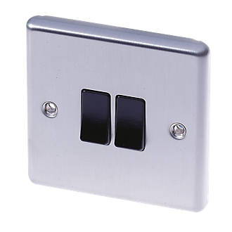 Lap 10ax 2 Gang 2 Way Light Switch Brushed Stainless Steel With Black Inserts Switches Sockets Screwfix Com