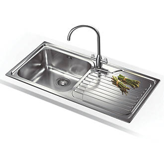 Franke Galassia Inset Kitchen Sink Stainless Steel 1 Bowl 1000 X 500mm Sinks Screwfix Com