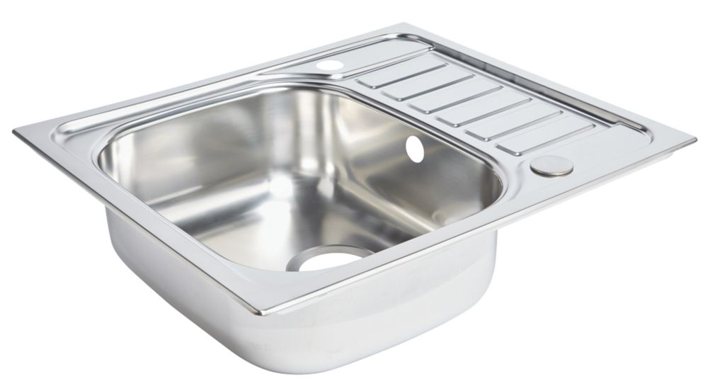 Spacesaver Sink Stainless Steel 1 Bowl Polished Sinks Screwfix Com