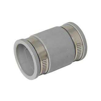 FloPlast WF08 Flexi Waste Straight Coupling Grey 38-45mm x