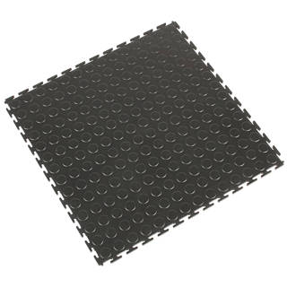 Coba Europe Tough Lock Pvc Interlocking Floor Tiles Black 500mm X 4 Pack Matting Fix