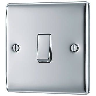 British General Nexus Metal 10ax 1 Gang 2 Way Light Switch Polished Chrome With Colour Matched Inserts Switches Sockets Screwfix Com