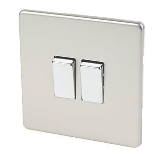 Varilight 10ax 2 Gang 2 Way Light Switch Satin Chrome Switches Sockets Screwfix Com