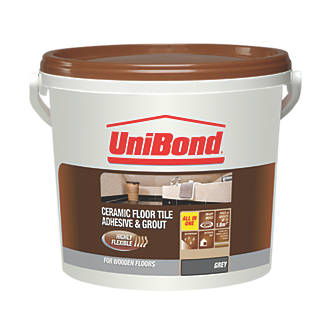 Unibond Floor Tile Adhesive 1 8m² Grey 7 2kg Grout Fix