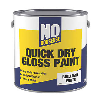 No Nonsense Water Based Gloss Paint Pure Brilliant White 2 5ltr Gloss Paints Screwfix Com