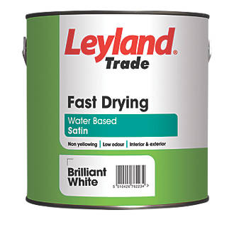 Leyland Trade Satin Fast Drying Paint Brilliant White 2 5ltr 88133