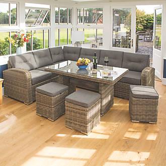 Rowlinson Thornbury Rattan Corner Dining Set 6 Pieces Garden Furniture Fix