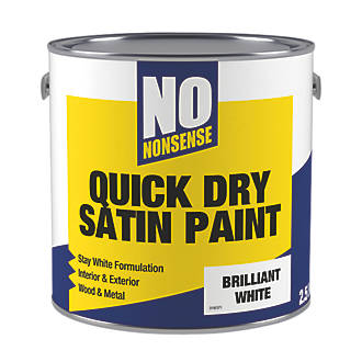 No Nonsense Water Based Satin Paint Brilliant White 2 5ltr Gloss Paints Screwfix Com
