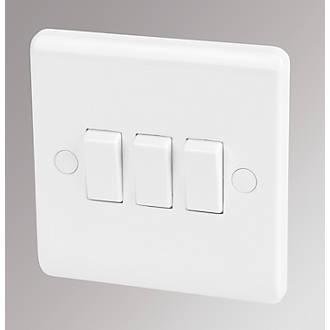 LAP 3-Gang 2-Way 10AX Light Switch White | Switches & Sockets ...