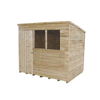 Forest 8 X 6 Nominal Pent Overlap Timber Shed With Base Assembly