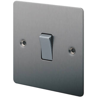 Lap 10ax 1 Gang 2 Way Light Switch Brushed Stainless Steel Switches Sockets Screwfix Com