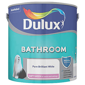 Awesome Dulux Soft Sheen Kitchen Bathroom Emulsion Paint Pure Brilliant White 2 5Ltr Interior Design Ideas Inesswwsoteloinfo