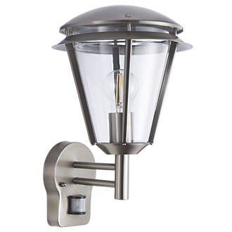 Antler Brushed S Steel Wall Light With Pir 60w