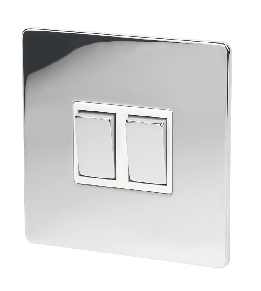 Lap 10ax 2 Gang 2 Way Light Switch Polished Chrome With White Inserts Switches Sockets Screwfix Com