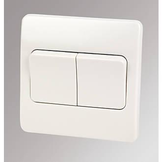 Rocker Light Switch >> Mk Logic Plus 2 Gang 2 Way 10ax Light Switch With Wide Rocker White