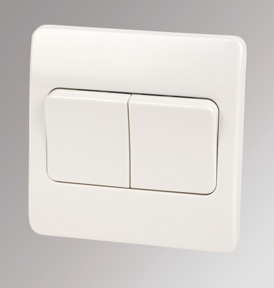 Mk Logic Plus 10ax 2 Gang 2 Way Light Switch White With White Inserts Switches Sockets Screwfix Com