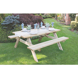 Outstanding Forest Large Rectangular Garden Picnic Table 1770 X 1530 X 770Mm Pabps2019 Chair Design Images Pabps2019Com