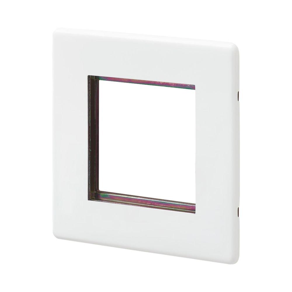 Mk Aspect 2 Gang Light Switch Surround White Modular Faceplate Screwfix Com