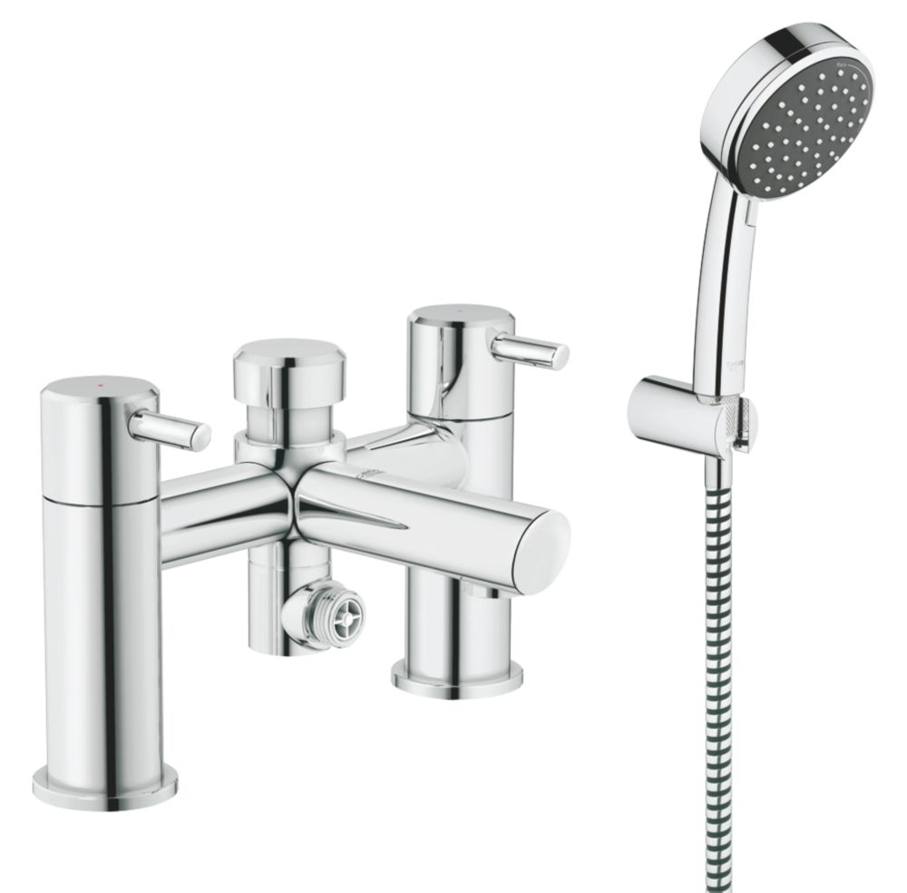 Shower Bath Taps Combined grohe feel deck-mounted bath/shower mixer tap | bath taps | screwfix