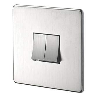 Crabtree 2 Gang Way 10ax Light Switch Brushed Chrome